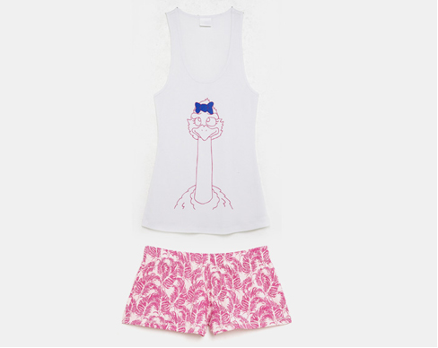 Pink feather print short matched with ostrich tank