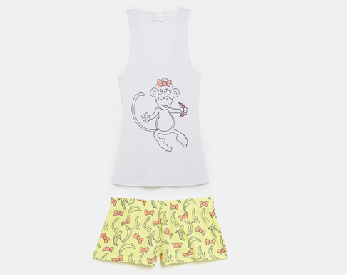 Yellow banana/bow print short matched with monkey tank