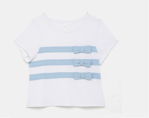 Bow & Stripe Crop T shirt in Baby Blue