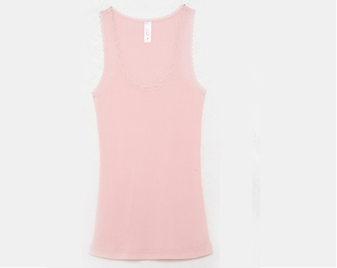 Madison Lace Trim Tank in Pale Pink
