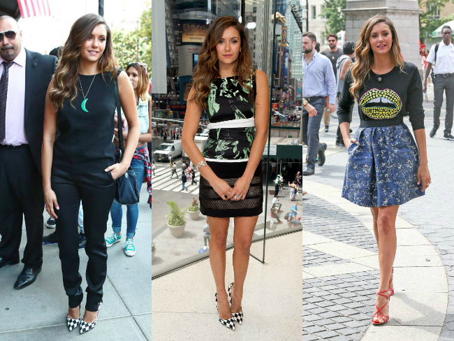 Nina Dobrev shows off five looks in one day