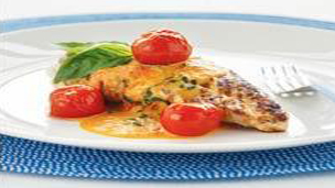 Chicken with roasted cherry tomato and basil sauce