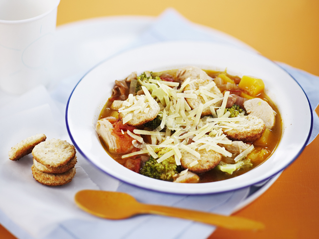 Chicken and vegetable soup with croutons