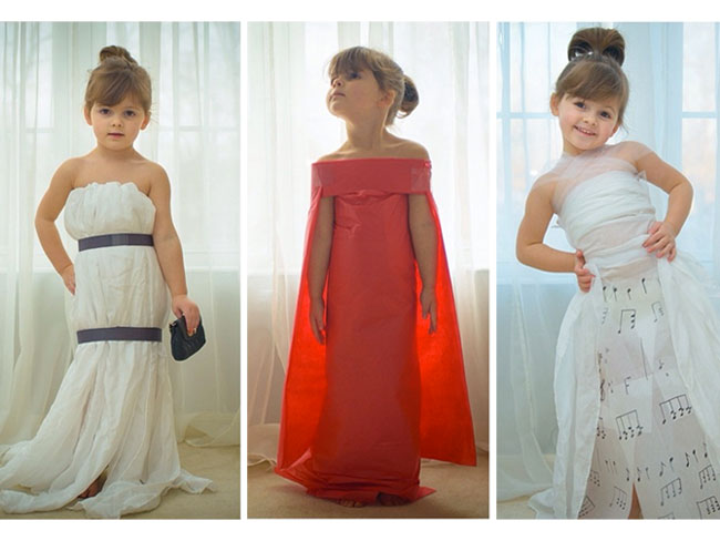 This 4-year-old crafts red-carpet-worthy gowns out of paper and they keep getting more amazing!