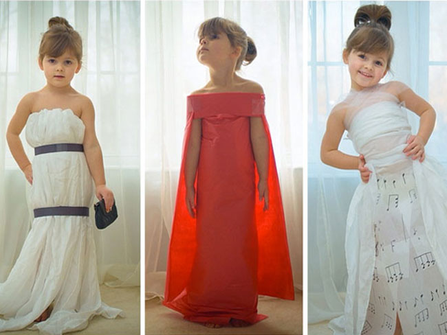 This preschooler makes designer gowns out of paper