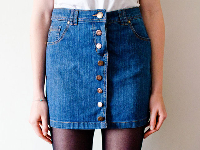 How to turn your old denim skirt into a button-up one