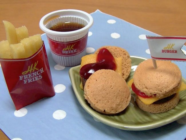 Now you can make your own mini burger meal. Out of powder.