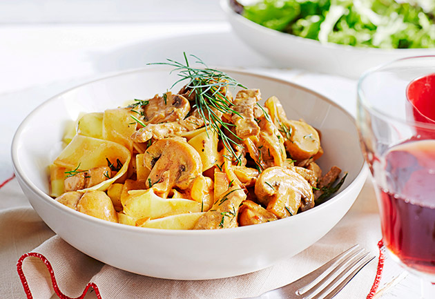 Pappardelle with veal and mushroom sauce