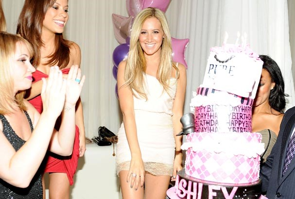 Ashley Tisdale celebrates at Pure nightclub.