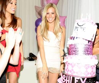 Ashley Tisdale celebrates at Pure nightclub.