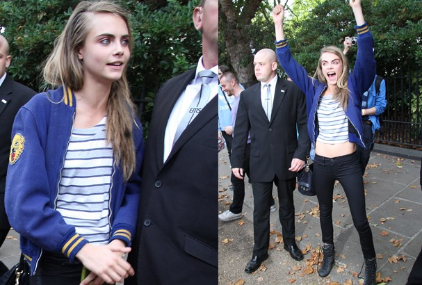 Cara Delevigne gets pumped up for the show.