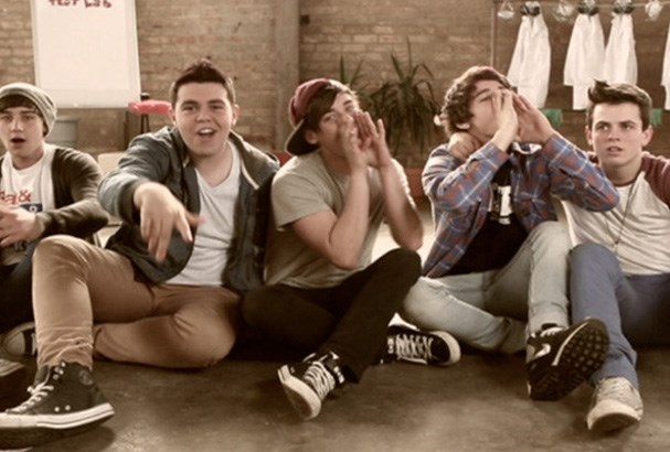 The Janoskians on set of their music video shoot.