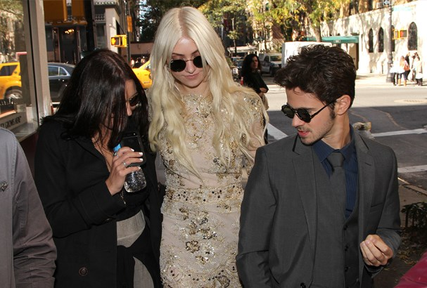Taylor Momsen and Connor on set in New York City.