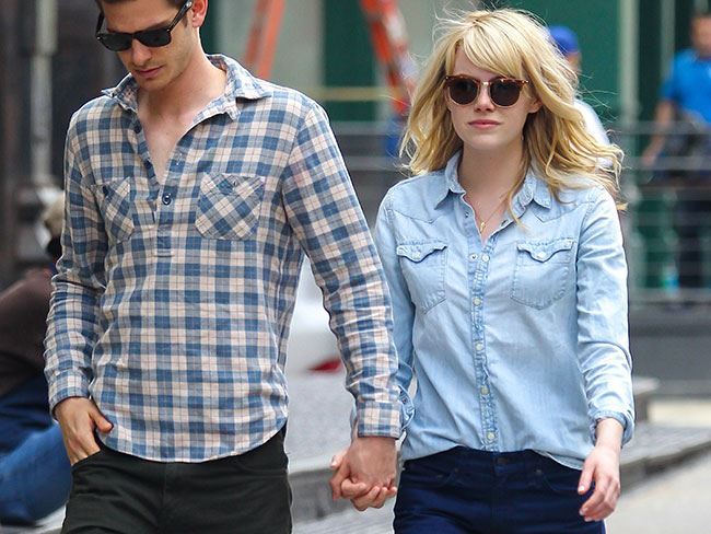 She pulls off double denim with amazing finesse while walking with beau Andrew Garfield.