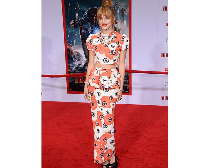 Oriental stylin' at the*Iron Man 3* premiere. We would like this matching patterned crop top and maxi peplum skirt combo too please!