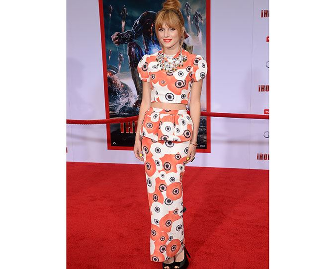 Oriental stylin' at the *Iron Man 3* premiere. We would like this matching patterned crop top and maxi peplum skirt combo too please!