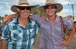 Brian Fay, left, with his son, ran whip cracking clinics at this year's Outback Festival