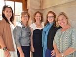 Jen Davis (MC), Georgie Somerset (QRRRWN President), Sarah Fea (organiser), Bindi Turner (Treasurer) and Emma Mactaggart (Writers' Web)