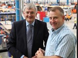 Optare Export Sales Manager Charles Waggott (left) with Donric Group Chief Executive Peter McKenzie on his recent visit to the Optare factory in the UK