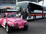 Scania National Sales Manager Bus and Coach Julian Gurney with the 'Pink Panther'