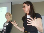 The Interact Group Managing Director Nikki Brouwers (front) and Registered Therapist Emma Howard lead the forum