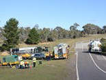 The ACT Transport Industries Skills Centre stages a simulated petrol tanker rollover recovery operation.