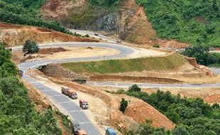 Volvo Shillong bypass road in India.