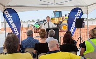 Komatsu Australia General Manager WA and NT John Andretich addresses guests at the ground-breaking ceremony for Komatsu's new facility in Port Hedland, Western Australia.